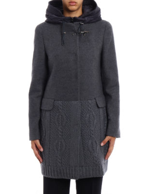 Fay: short coats online - Knit wool and cloth hooded coat