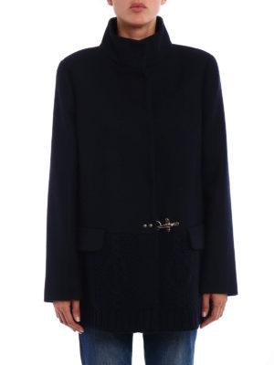 Fay: short coats online - Knitted wool trim short coat