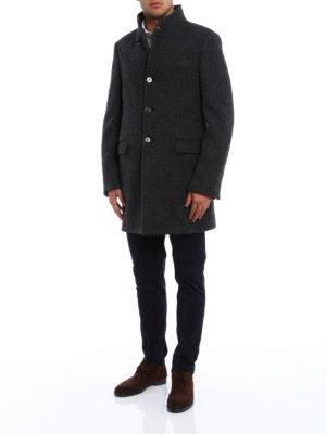Fay: short coats online - Melange virgin wool coat