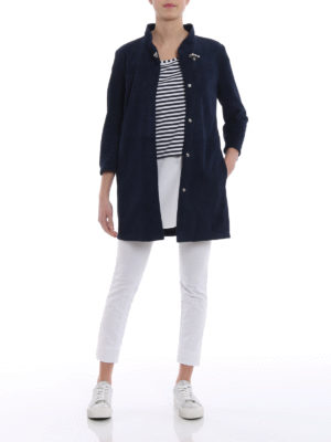 Fay: short coats online - Soft ovine napa leather overcoat