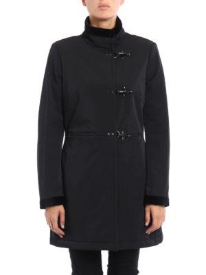 Fay: short coats online - Velvet detailed gabardine coat