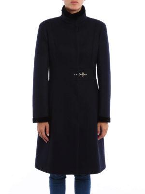 Fay: short coats online - Velvet trimmed wool blend coat