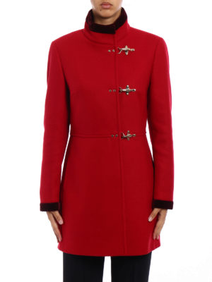 Fay: short coats online - Virginia velvet trimmed red coat