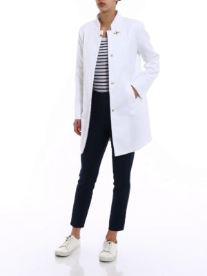 Fay: short coats online - White cotton overcoat