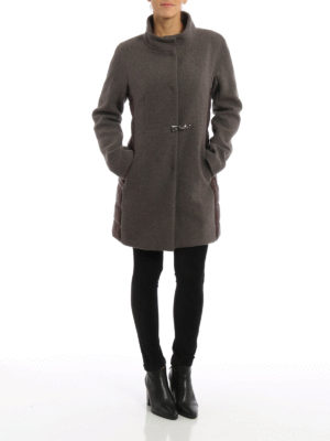 Fay: short coats online - Wool and nylon montgomery coat
