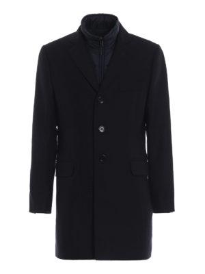 FAY: cappotti corti - Cappotto in lana spigata con gilet staccabile