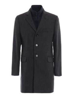 FAY: cappotti corti - Cappotto in lana melange con gilet staccabile