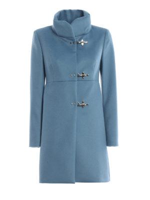 FAY: cappotti corti - Cappotto Romantic celeste in lana e cashmere
