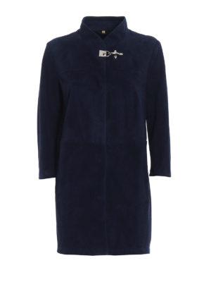 Fay: short coats - Soft ovine napa leather overcoat