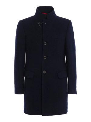 Fay: short coats - Solid wool tweed short coat
