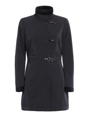 Fay: short coats - Velvet detailed gabardine coat