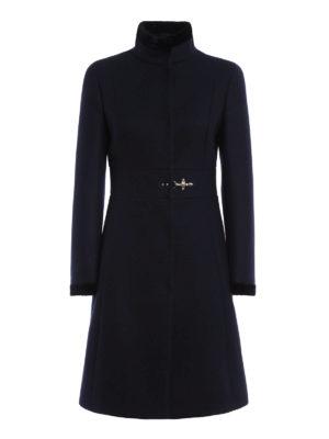 Fay: short coats - Velvet trimmed wool blend coat