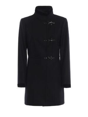 FAY: cappotti corti - Cappotto Virginia nero in lana e cashmere