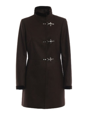 FAY: cappotti corti - Cappotto Virginia marrone in lana e cashmere
