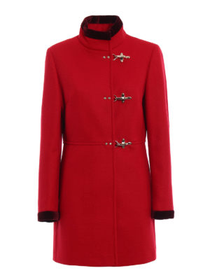 Fay: short coats - Virginia velvet trimmed red coat
