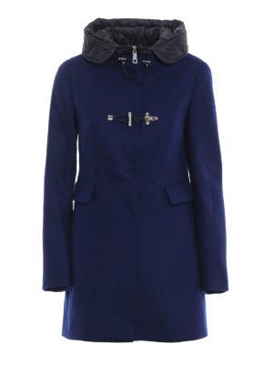 FAY: cappotti corti - Cappotto in lana con cappuccio e double front