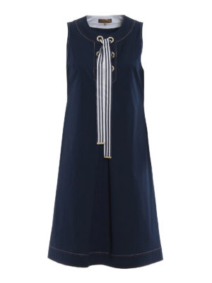Fay: short dresses - Blue cotton sleeveless sailor dress