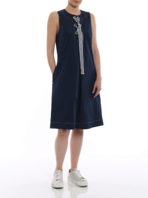 Fay: short dresses online - Blue cotton sleeveless sailor dress