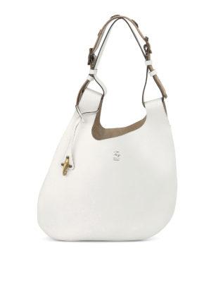 Fay: shoulder bags - Embellished handle leather hobo bag