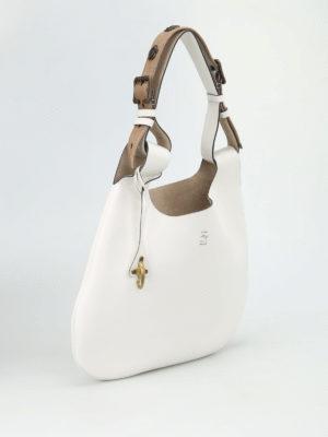 Fay: shoulder bags online - Embellished handle leather hobo bag