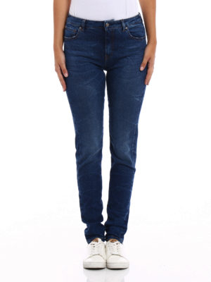 Fay: straight leg jeans online - Stretch denim faded jeans