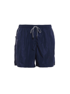 Fay: Swim shorts & swimming trunks - White piping blue swim shorts