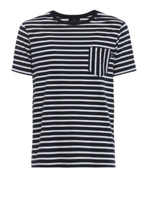 Fay: t-shirts - Chest pocket striped T-shirt