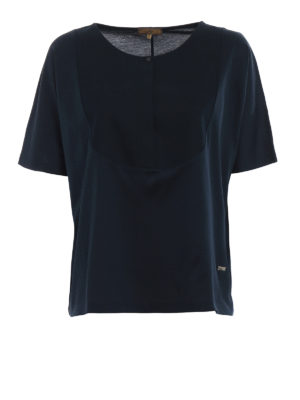 Fay: t-shirts - Honeycomb insert blue cotton Tee