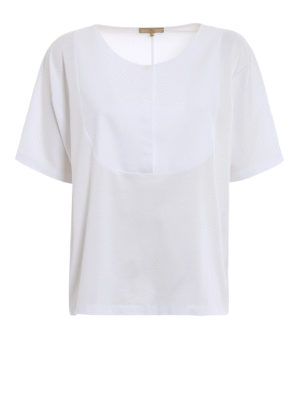 Fay: t-shirts - Honeycomb insert cotton T-shirt