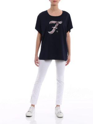 Fay: t-shirts online - F print boxy T-shirt