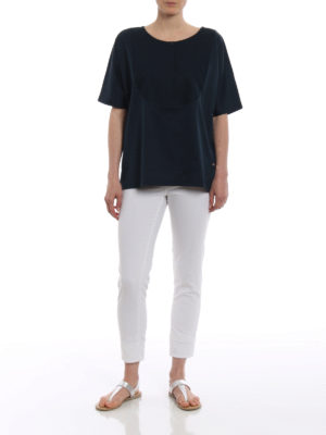 Fay: t-shirts online - Honeycomb insert blue cotton Tee