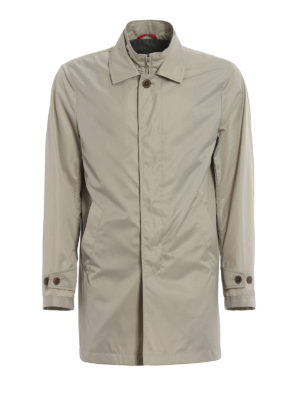 Fay: trench coats - Double-front greige trench coat