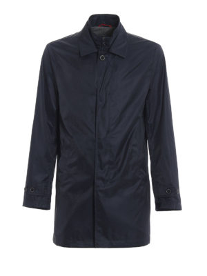 Fay: trench coats - Double-front navy blue trench coat