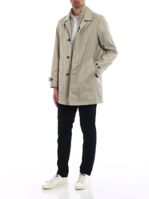 Fay: trench coats online - Double-front greige trench coat