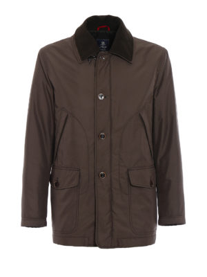 Fay: trench coats - Padded brown techno trench