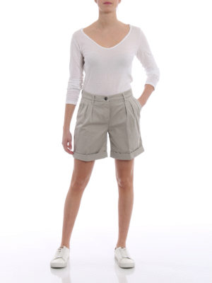 Fay: Trousers Shorts online - Pleated beige cotton bermuda