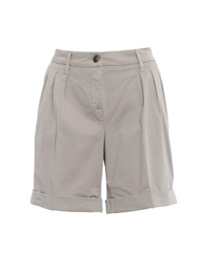 Fay: Trousers Shorts - Pleated beige cotton bermuda