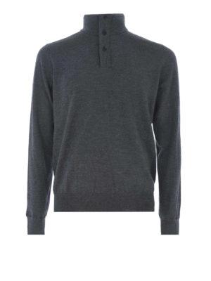 FAY: maglia a collo alto e polo - Lupetto in lana pettinata grigio scuro