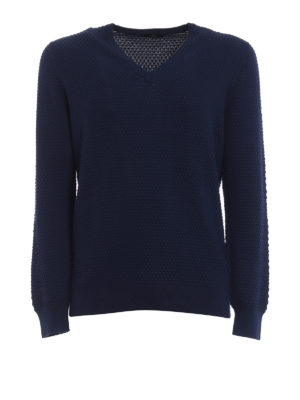 Fay: v necks - Blue cotton V-neck sweater
