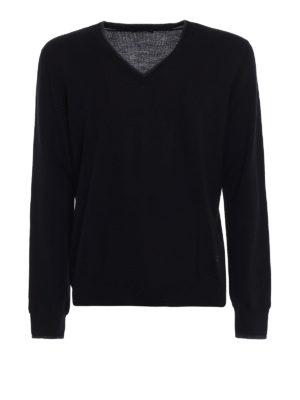 Fay: v necks - Contrast elbow patch  V-sweater
