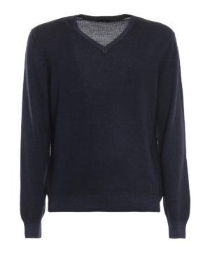 FAY: maglia collo a v - Pullover a V in lana merino blu scuro