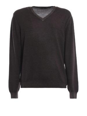 FAY: maglia collo a v - Pullover a V in lana merino marrone scuro