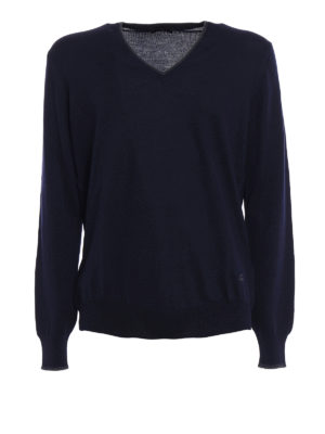 Fay: v necks - Elbow patch blue wool sweater