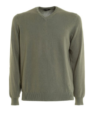 Fay: v necks - Embroidered logo cotton sweater