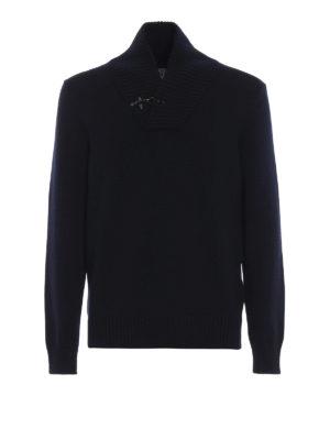 FAY: maglia collo a v - Maglione a V in lana con iconico Gancio