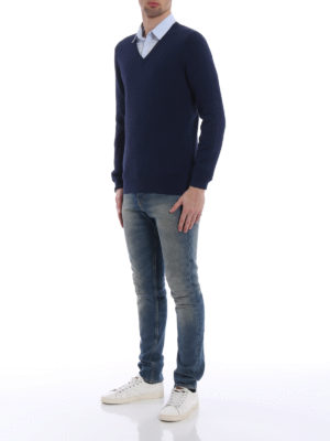 Fay: v necks online - Blue cotton V-neck sweater