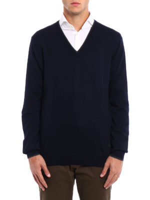 Fay: v necks online - Elbow patch blue wool sweater