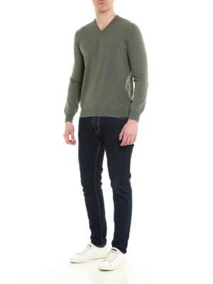 Fay: v necks online - Embroidered logo cotton sweater