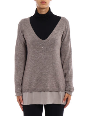 Fay: v necks online - Sequined beige wool sweater
