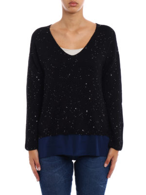 Fay: v necks online - Sequined black wool sweater